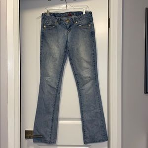 Guess light blue low rise slim boot cut